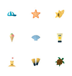set of beach icons flat style symbols with vector image