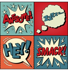 Set of Comics Bubbles in Pop Art Style vector