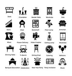 set of interior and decoration glyph icons 2 vector image