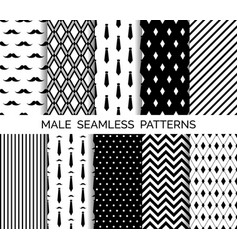 Set of printable male seamless patterns vector