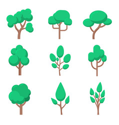 set of tree in flat style isolated on white vector image
