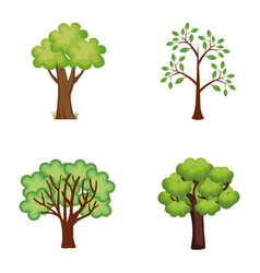 Set trees plants icons vector
