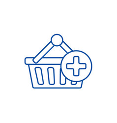shopping cart plus line icon concept shopping vector image