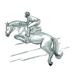 Show jumping hand drawn line art technique on vector