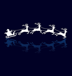 silhouettes santa and deers vector image