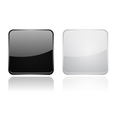square glass buttons black and white 3d icons vector image