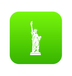 statue of liberty icon digital green vector image