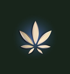 stylish cannabis marijuana hemp leaf flat symbol vector image