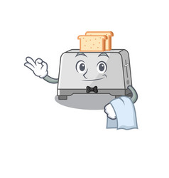 Sweet bread toaster character working as a waiter vector