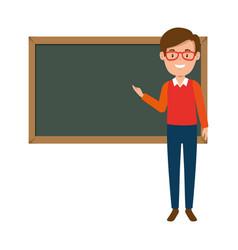 Teacher male with chalkboard avatar character vector