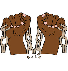 Two male hands holding a torn chain vector