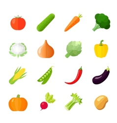Vegetables Icons Flat vector