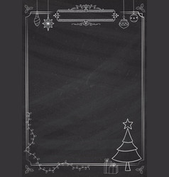 Vertical christmas decoration classic blackboard vector