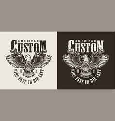 Vintage monochrome custom motorcycle emblem vector