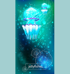 Vivid neon light jellyfish vector