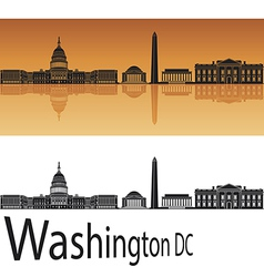 Washington DC skyline in orange background vector