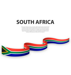 Waving ribbon or banner with flag south africa vector