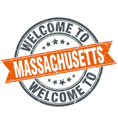Welcome to massachusetts orange round ribbon stamp vector