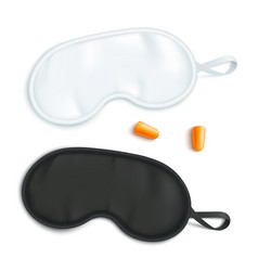 white and black sleeping mask mockup with pair of vector image
