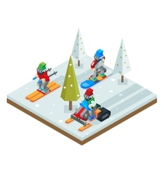 Winter resort holidays ski snowboard sled vector