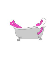 woman lying bath girl washing in bathtub vector image