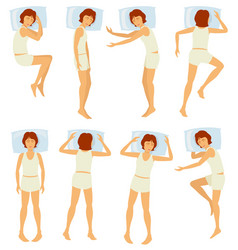woman sleeping postures relaxing female sleep in vector image