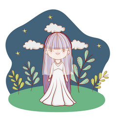 Young bride outdoors nighttime landscape cartoon vector