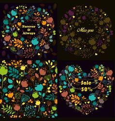 bright floral patterns set vector image