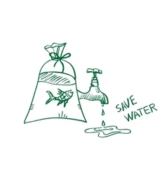doodle save water concept vector image