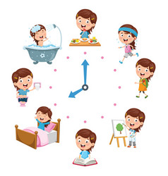 kids daily routine activities vector image