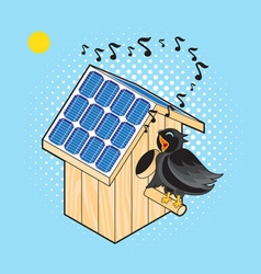Starling and Nesting Box with solar panel vector image vector image