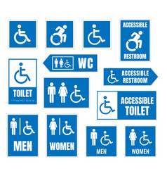 accessible toilet sign restroom signs for vector image