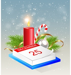 Christmas background with calendar and red candle vector image