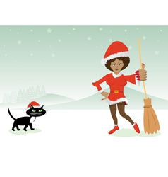 Christmas lady with cat vector image vector image