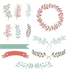 Hand drawn set design elements brunch wreath vector image vector image