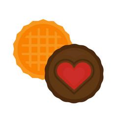heart cake isolated biscuit vector image