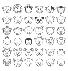 icon of animal faces vector image vector image