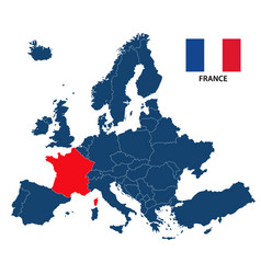 map of europe with highlighted france vector image