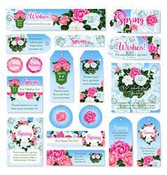spring rose flower gift tag and label set design vector image vector image