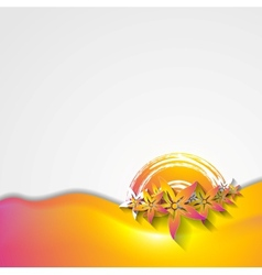 Abstract wavy colorful flowers design vector image vector image
