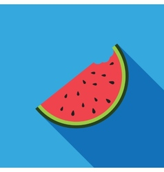 Big watermelon slice cut with seed Flat design vector image