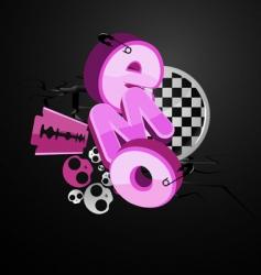 emo typography vector image