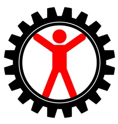 icon of man in cog-wheel vector image vector image