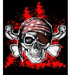 Jolly Roger pirate symbol with crossed bones vector image