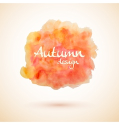 Orange watercolor splash element for autumn design vector image