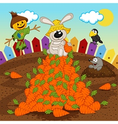 rabbit harvesting carrot vector image vector image
