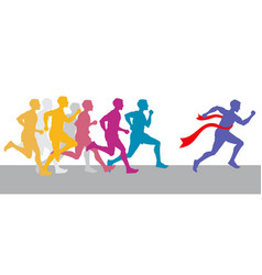 racing people and winning runner marathon vector image