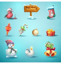 Set of festive items for Christmas and New Year vector image vector image