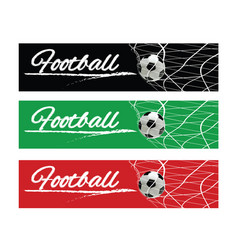 soccer or football black banner with 3d ball vector image