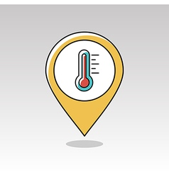 Thermometer heat hot pin map icon weather vector